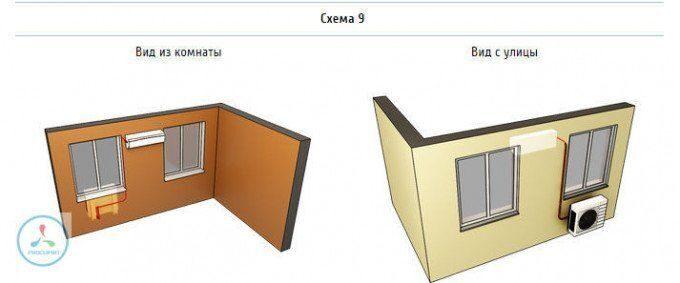 Установка внутреннего блока между окнами, установка внешнего блока под левое окно.