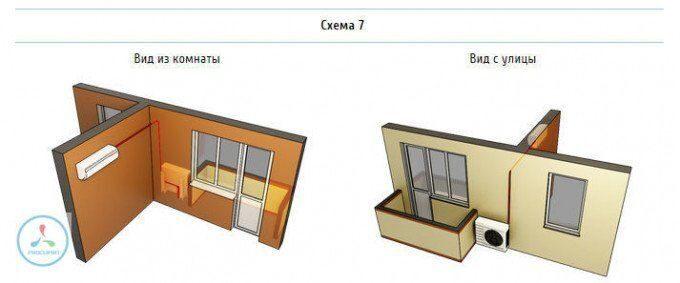 Установка внутреннего блока рядом с окном на левой стене примыкающей к фасадной, установка внешнего блока кондиционера рядом с балконом.